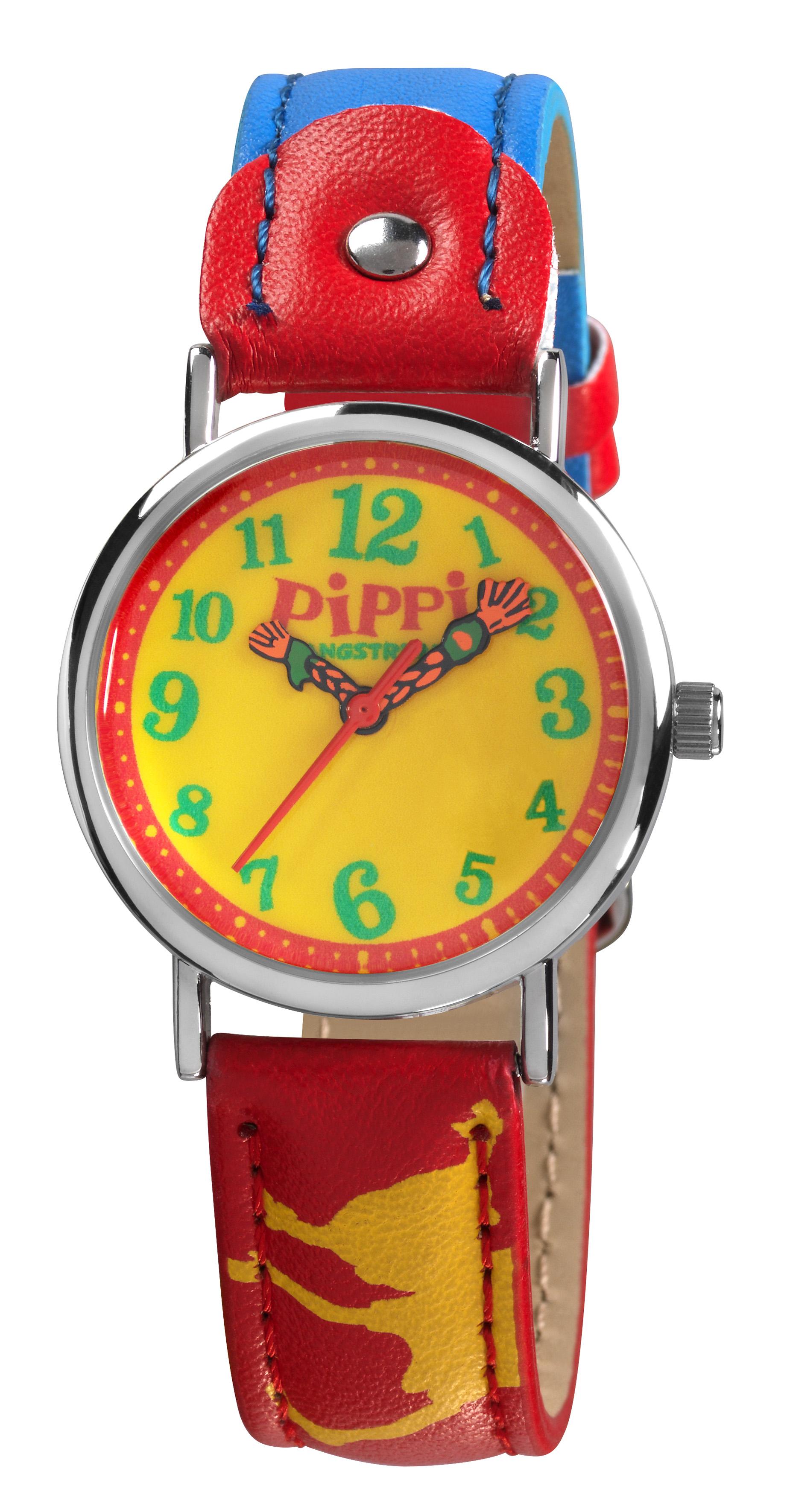 Pippi Langstrumpf Kinderuhr rot
