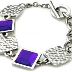 Lotus Style Schmuck Armband mit violetten Kästchen